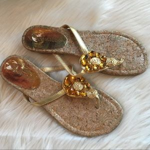Coconuts by Matisse jeweled sandals wedge 8 gold